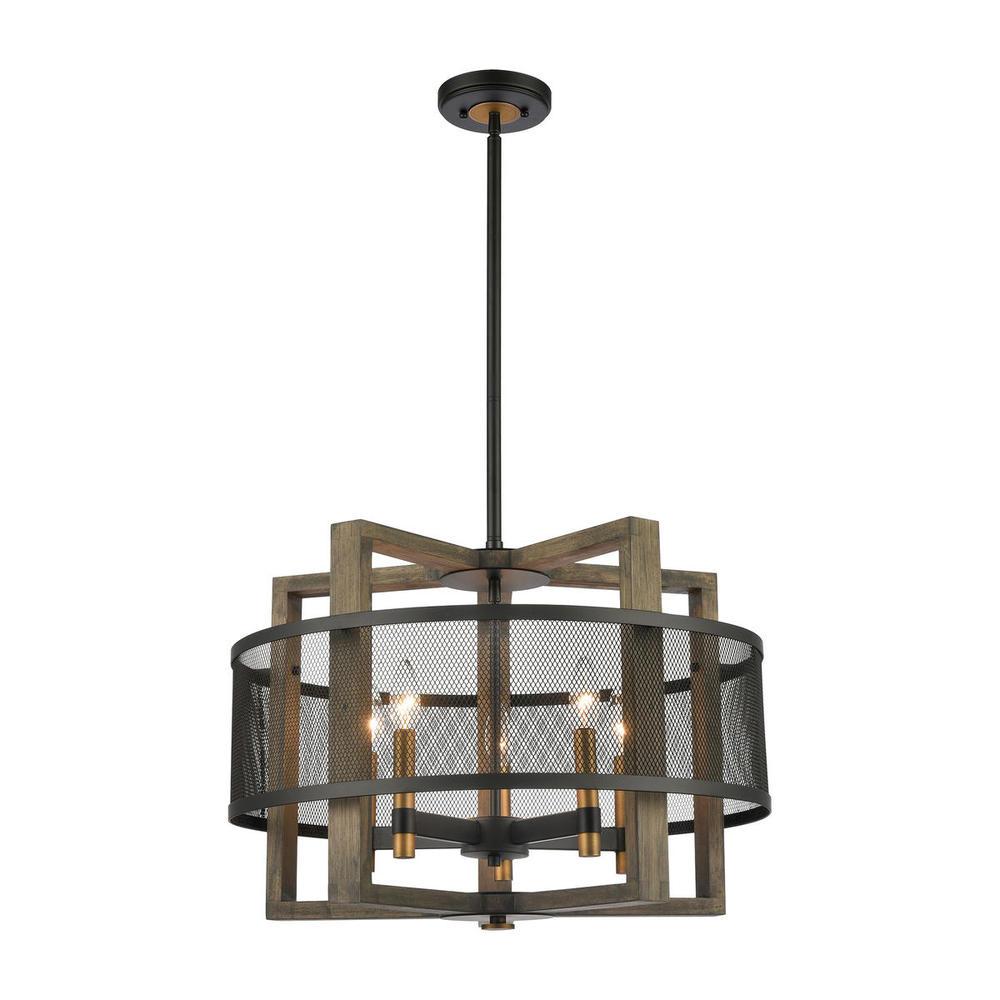 Woodbridge Home Exteriors: Woodbridge 5-Light Chandelier In Weathered Oak And Aged